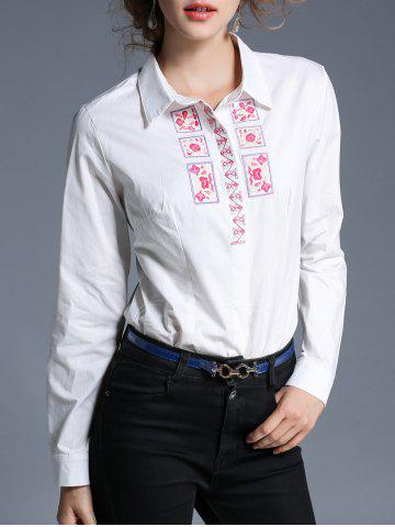 New Embroidery Turndown Collar Shirt