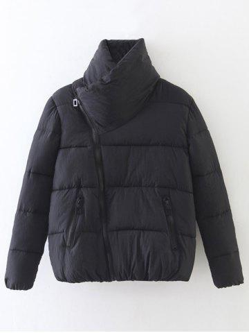 Affordable Candy Color Zippered Puffer Jacket