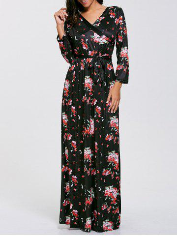 Cheap Belted Floral Long Sleeve Boho Maxi Dress BLACK S