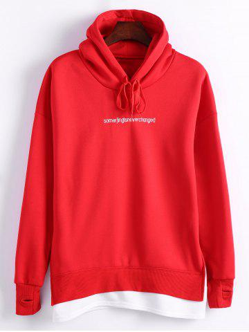 Shop Plus Size Letter Embroidered Insert Hoodie