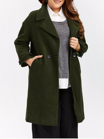 Online Plus Size Buttoned Wool Blend Longline Coat ARMY GREEN XL