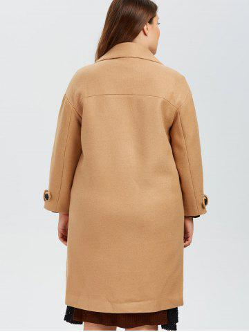 Shops Plus Size Buttoned Wool Blend Longline Coat - XL CAMEL Mobile