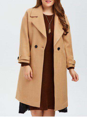 Plus Size Buttoned Wool Blend Longline Coat - Camel - Xl