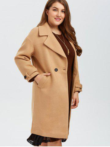 Fashion Plus Size Buttoned Wool Blend Longline Coat - XL CAMEL Mobile