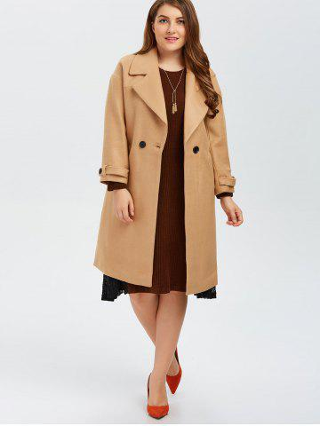 Outfit Plus Size Buttoned Wool Blend Longline Coat - XL CAMEL Mobile