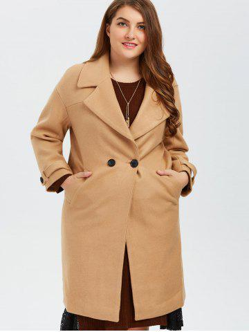 Outfits Plus Size Buttoned Wool Blend Longline Coat - XL CAMEL Mobile