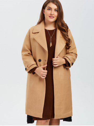 Unique Plus Size Buttoned Wool Blend Longline Coat - XL CAMEL Mobile