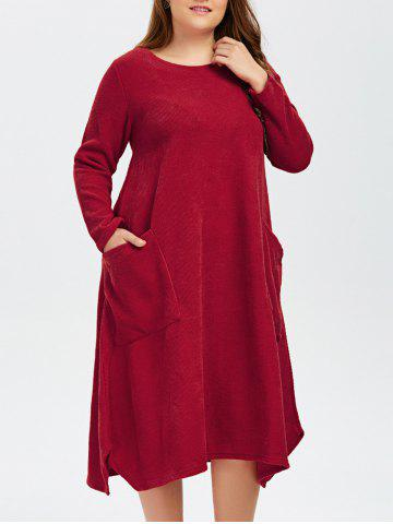 Online Plus Size Double Pockets Knitted Dress