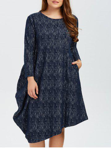 Fashion Plus Size Long Sleeves Asymmetrical Baggy Dress