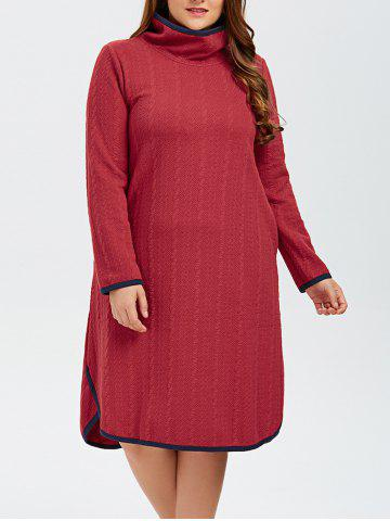 Latest Plus Size High Neck Side Slit Knitted Dress