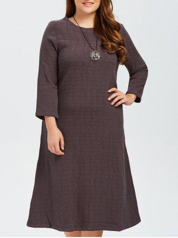 Cheap Plus Size Grid Linen Back Slit Dress