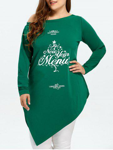 Hot Plus Size Asymmetric New Year Graphic T-Shirt