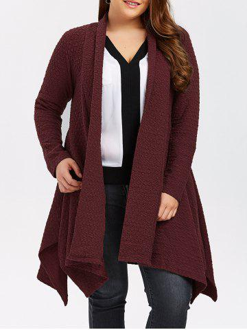 Buy Plus Size Asymmetric Dotted Knitted Long Duster Cardigan WINE RED 4XL