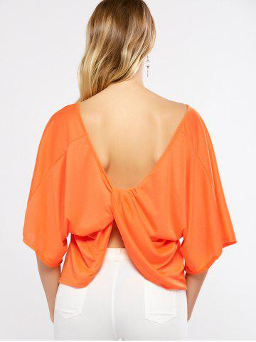 Outfit Batwing Sleeves Twist Open Back T-Shirt ORANGE XL