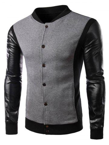 Color Block PU Leather Panel Button Jacket - Gray - 2xl
