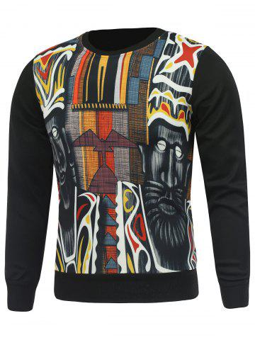 Trendy Crew Neck Abstract Printed Sweatshirt - M BLACK Mobile
