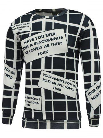 Crew Neck Graphic Printed Grid Sweatshirt - White And Black - Xl