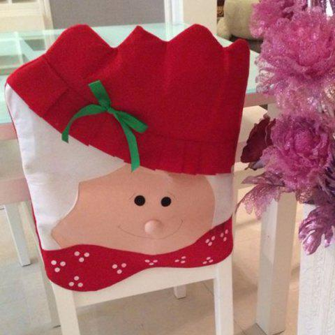 Shop Christmas Supplies Dinner Decoration Mrs Santa Chair Back Cover - RED WITH WHITE  Mobile