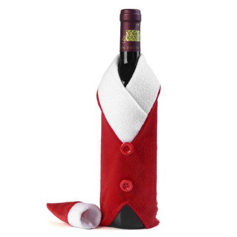 Affordable Santa Clothes Design Christmas Wine Bottle Cover Bag - RED WITH WHITE  Mobile