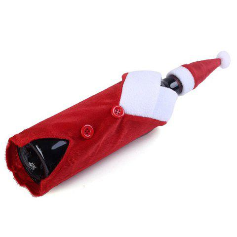 New Santa Clothes Design Christmas Wine Bottle Cover Bag - RED WITH WHITE  Mobile