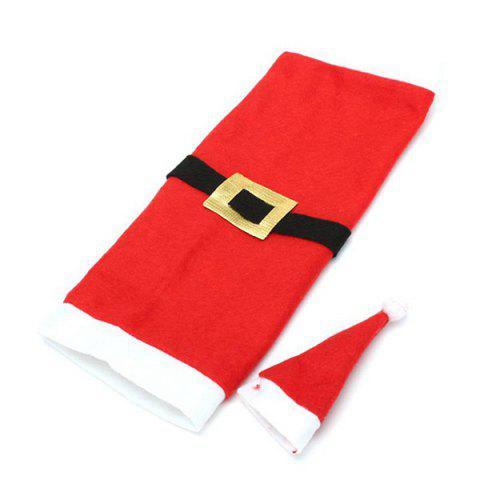 New Xmas Table Decor Santa Clothes Wine Bottle Cover Bag - RED WITH WHITE  Mobile