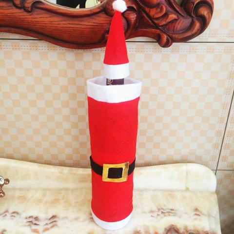Affordable Xmas Table Decor Santa Clothes Wine Bottle Cover Bag - RED WITH WHITE  Mobile