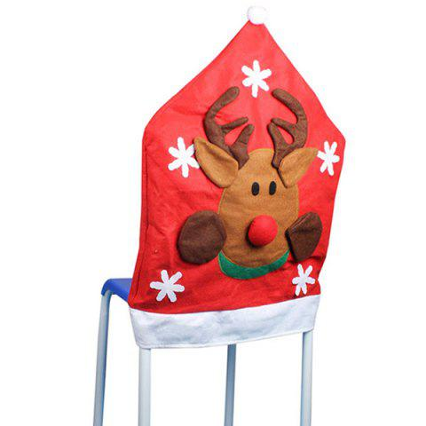 Trendy Christmas Supplies Dinner Decoration Elk Pattern Chair Back Cover - RED  Mobile