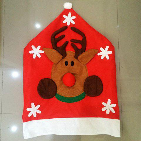 New Christmas Supplies Dinner Decoration Elk Pattern Chair Back Cover - RED  Mobile