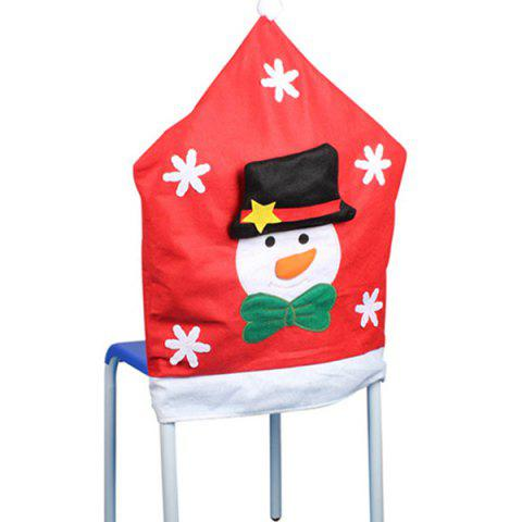 Hot Dinner Table Decor Christmas Supplies Snowman Chair Back Cover - RED  Mobile