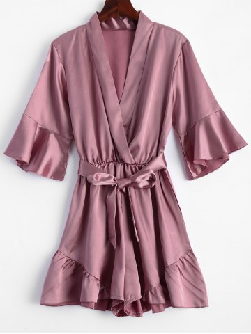 Store Belted Flounce Satin Ruffle Romper PINK XL