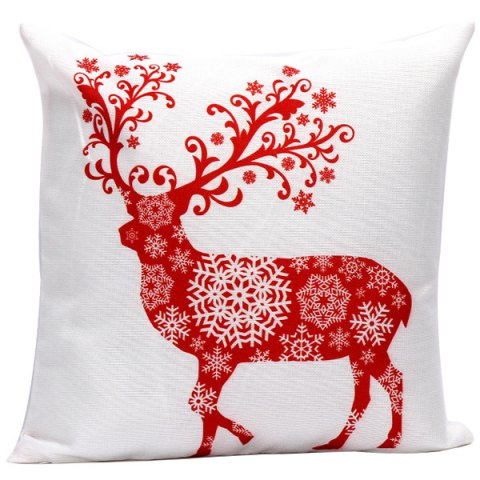 Christmas Elk Printed Cushion Throw Pillow Cover - Red With White - 45*45cm