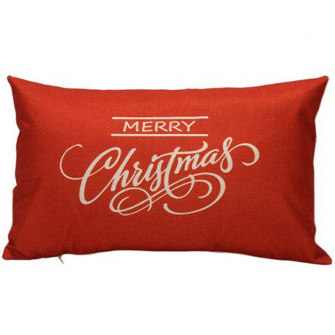 Merry Christmas Bed Sofa Backrest Throw Pillow Cover - RED