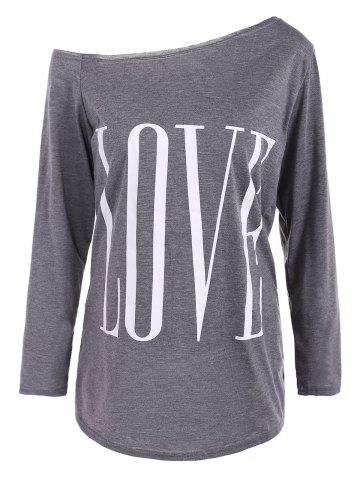 Shop Skew Neck LOVE Print T-Shirt GRAY XL