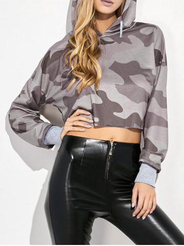 Latest Camouflage Print Hooded Crop Top