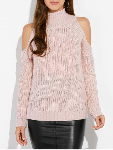 Affordable Mock Neck Open Shoulder Knitted Sweater