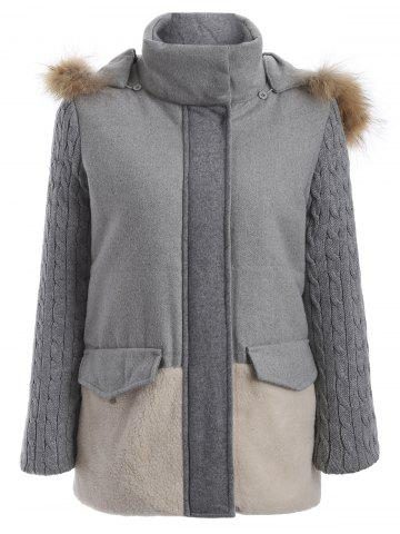 Color Block Faux Fur Hooded Coat - Light Grey - S