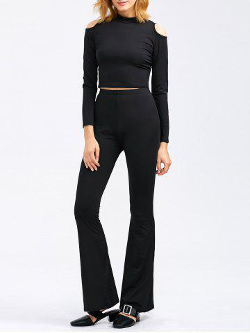 Buy Cold Shoulder Crop Tee and Bootcut Flared Pants BLACK XL