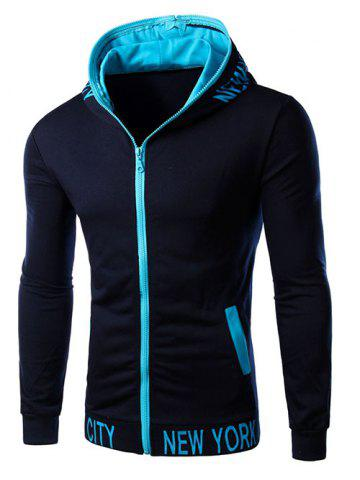 Discount Hooded Color Block Zipper Design Hoodie CADETBLUE 2XL