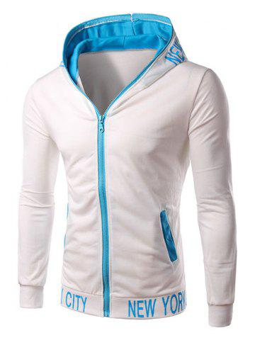 Chic Hooded Color Block Zipper Design Hoodie - L WHITE Mobile
