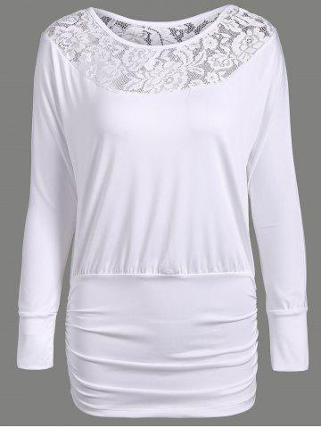 Chic Lace Insert Ruched Slimming Tee WHITE XL