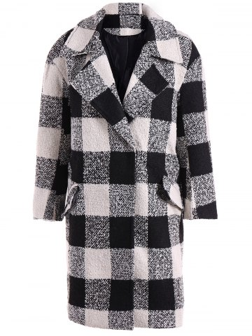 Hot Snap Button Pocket Design Plaid Overcoat