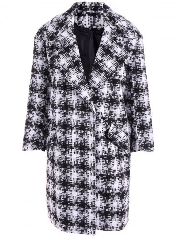 Shop Snap Button Patterned Overcoat