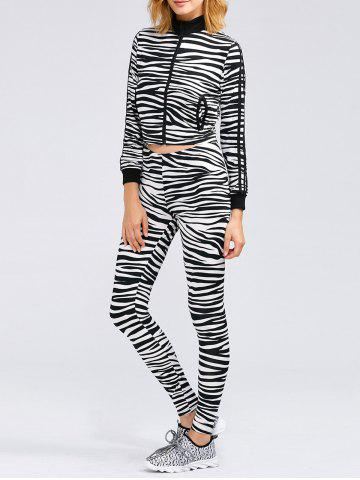Unique Zebra Striped Crop Running Jacket and Skinny Pants ZEBRA STRIPES XL