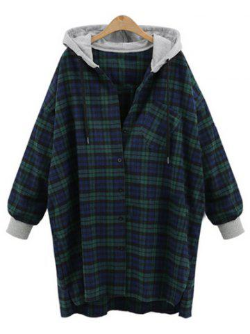 Unique Plus Size Checked Hooded Cocoon Coat