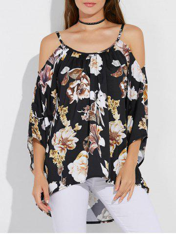 Latest Floral Print Asymmetrical Cut Out Blouse