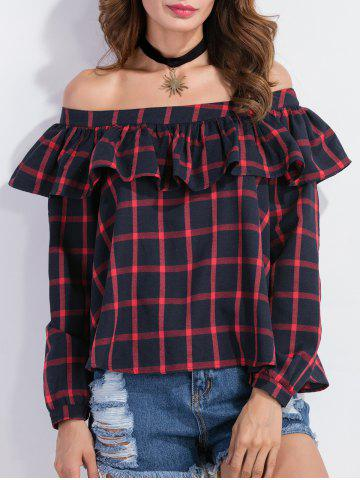 Outfit Flounced Off The Shoulder Tartan Blouse RED XL