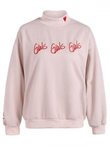 Outfit Letter Embroidered Heart Graphic Sweatshirt
