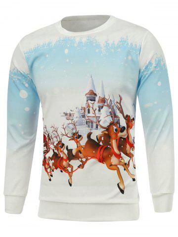 Cheap Christmas Elk Castle Printed Sweatshirt - M WHITE Mobile