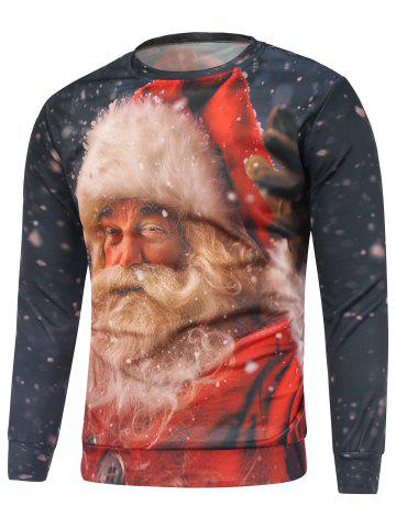 Fashion Christmas Santa Claus Printed Sweatshirt - M RED Mobile