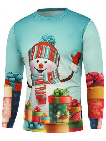 Latest Christmas Snowman Gift Printed Sweatshirt BLUE 3XL